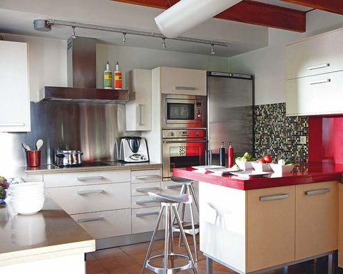 Room, Interior design, Ceiling, Major appliance, Kitchen, Floor, Kitchen appliance, Countertop, Interior design, Cupboard,