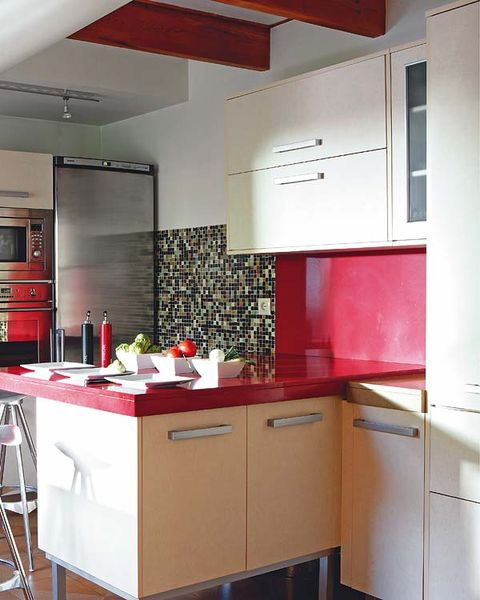 Room, Interior design, Property, Red, White, Furniture, Wall, Floor, Ceiling, Major appliance,
