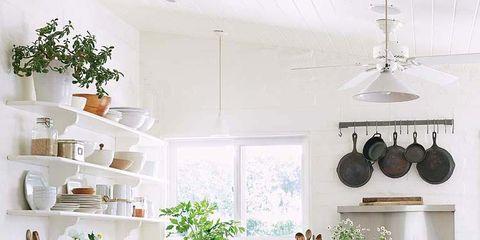 Room, Green, Interior design, White, Furniture, Home, Kitchen, Countertop, Floor, House,