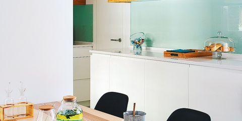 Room, Green, Furniture, Turquoise, Yellow, Property, Interior design, Table, Kitchen, Orange,