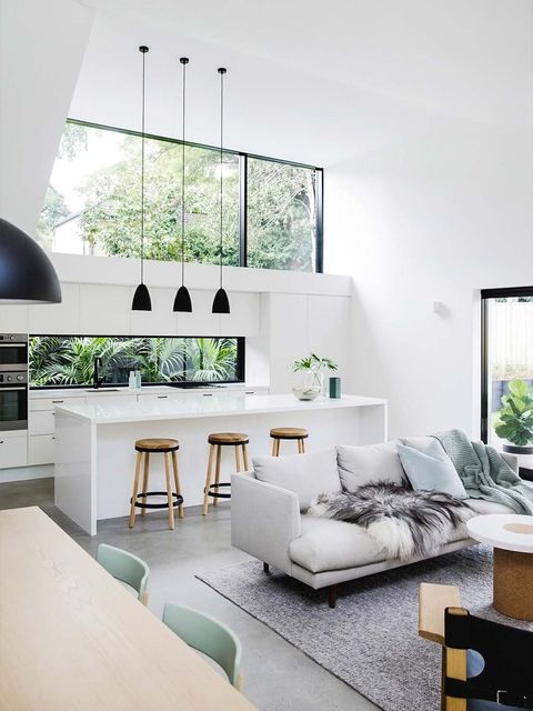 Living room, Room, Interior design, Furniture, White, Property, House, Green, Home, Building,
