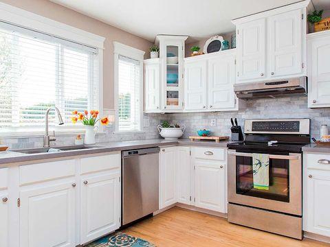 Room, Green, Home, Property, Floor, Interior design, Major appliance, Kitchen, White, Flooring,