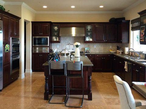 Lighting, Floor, Room, Interior design, Flooring, Countertop, Cupboard, Ceiling, Hardwood, Kitchen,
