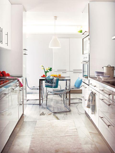 Room, Floor, Interior design, Flooring, White, Home, Interior design, Kitchen, Countertop, Cabinetry,