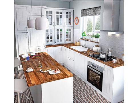 Cocinas con office actuales y con estilo - Encimera de madera para cocina ...