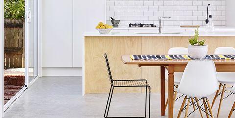 Furniture, Room, White, Kitchen, Interior design, Property, Floor, Tile, Table, Yellow,