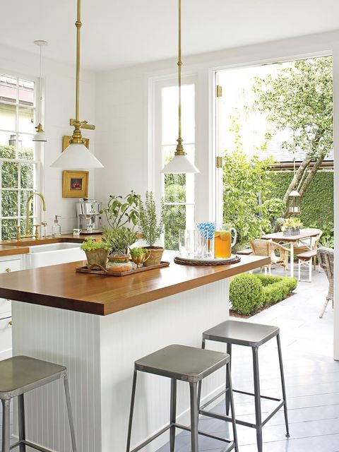 Furniture, White, Room, Interior design, Kitchen, Table, Property, Dining room, Green, Countertop,