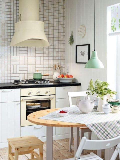 Room, Green, Wood, Interior design, Furniture, Table, White, Lampshade, Interior design, Home,