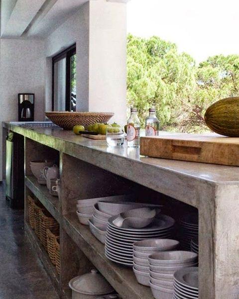 cocina exterior de cemento pulido