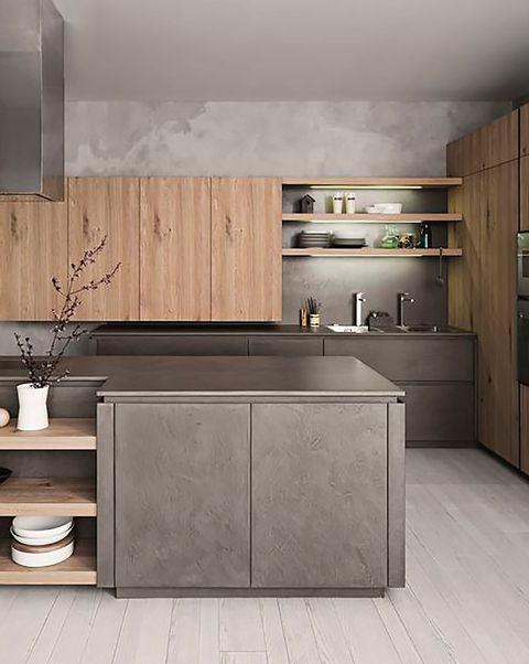 cocina moderna con muebles de madera y en gris antracita