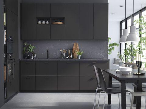 Room, Furniture, Countertop, Kitchen, Property, Interior design, Floor, Cabinetry, Architecture, Building,