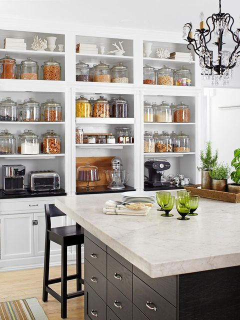 Countertop, Furniture, Cabinetry, White, Room, Shelf, Kitchen, Shelving, Interior design, Hutch,