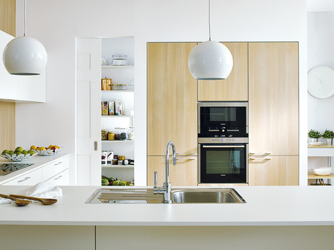 White, Room, Furniture, Shelf, Cabinetry, Countertop, Kitchen, Interior design, Property, Floor,