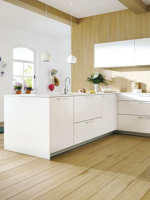 White, Floor, Room, Furniture, Kitchen, Interior design, Countertop, Cabinetry, Property, Flooring,