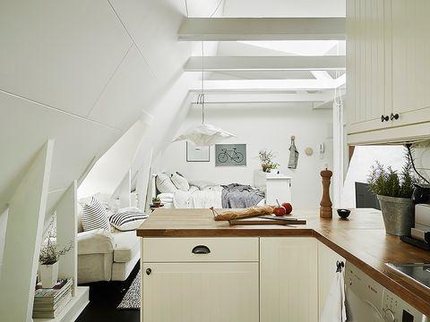 White, Room, Interior design, Property, Furniture, Kitchen, Ceiling, Building, House, Floor,