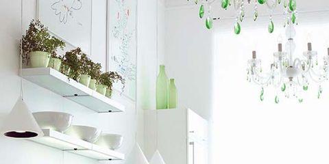 Interior design, Room, Green, Flowerpot, Wall, White, Floor, Interior design, Light fixture, Ceiling,