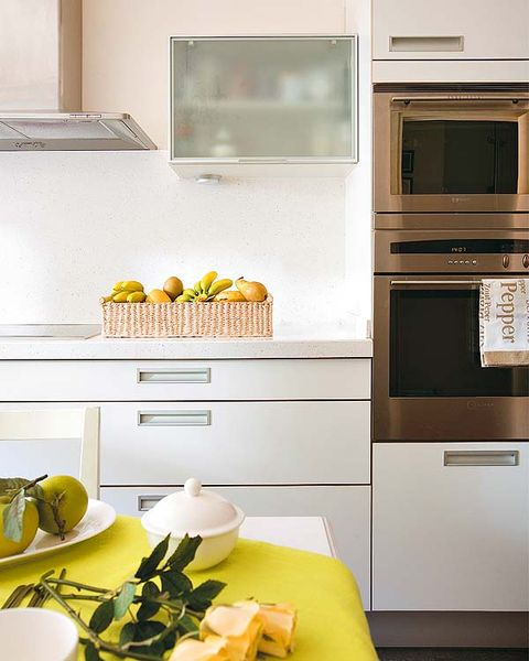 Yellow, Room, Interior design, Dishware, Major appliance, Kitchen, Cabinetry, Home, Kitchen appliance, Cupboard,