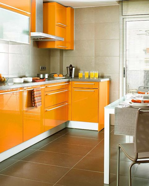 Room, Floor, Flooring, Interior design, Orange, Major appliance, Kitchen appliance, Home appliance, Kitchen, House,