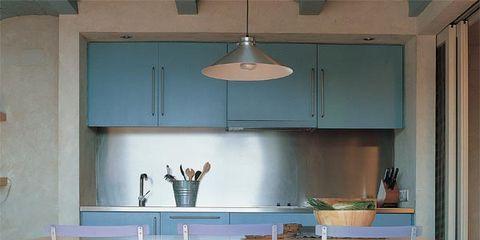 Room, Floor, Flooring, Light fixture, Interior design, Ceiling, Furniture, Cupboard, Kitchen, Countertop,