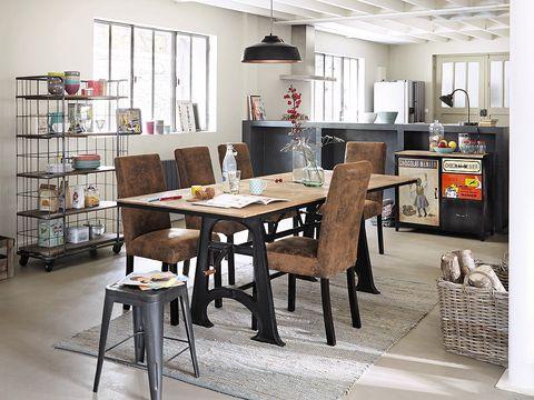 Room, Interior design, Table, Furniture, Floor, Light fixture, Shelving, Shelf, Ceiling, Lampshade,