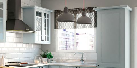 Room, Floor, Property, Interior design, White, Furniture, Kitchen, Countertop, Light fixture, Cabinetry,