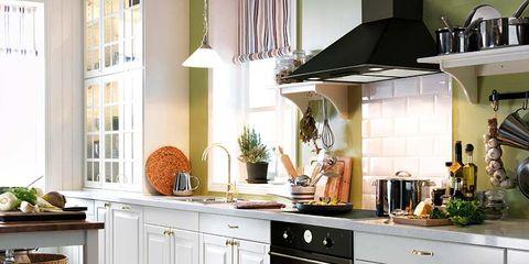 Room, Wood, Interior design, Floor, White, Home, Flooring, Countertop, Kitchen, Light fixture,
