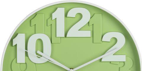Clock, Green, Wall clock, Furniture, Number, Home accessories, Alarm clock, Font, Interior design, Circle,