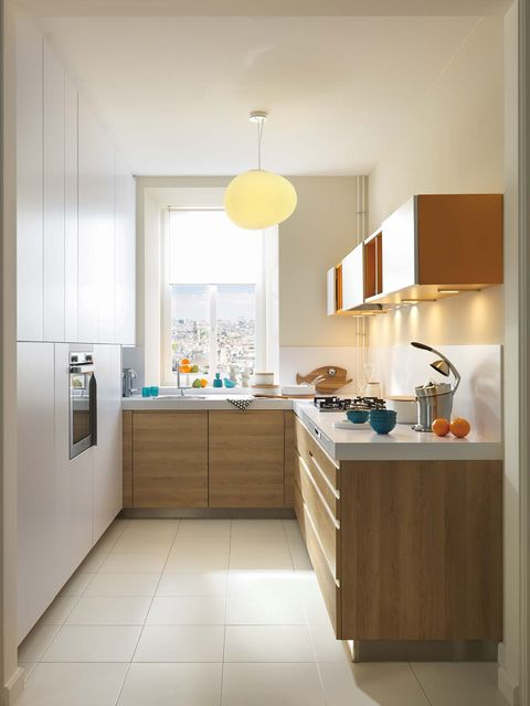 Room, Furniture, Property, Cabinetry, Interior design, Kitchen, Floor, Countertop, Yellow, Building,