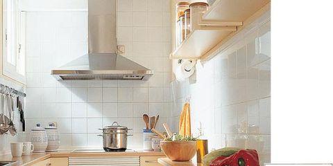 Room, Kitchen, Interior design, Floor, Major appliance, Countertop, Cabinetry, Kitchen appliance, House, Grey,
