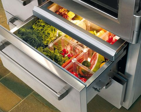 Refrigerator, Drawer, Kitchen appliance, Major appliance, Display case, Food, Fast food, Home appliance, Frozen food, Salad bar,