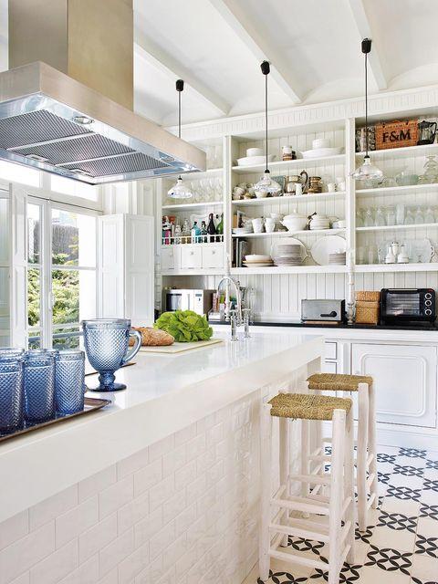 Interior design, Floor, Ceiling, Interior design, Light fixture, Grey, Kitchen, Countertop, Design, Houseplant,