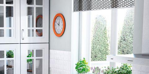 Room, Flowerpot, Interior design, Interior design, Fixture, Cabinetry, Wall clock, Drawer, Houseplant, Tap,