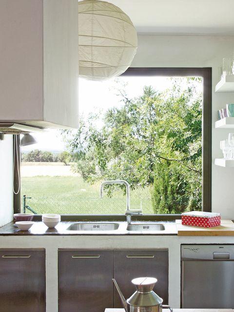 Green, Room, Interior design, Glass, Lighting accessory, Interior design, Fixture, Countertop, Kitchen, House,