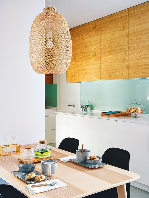 Room, Yellow, Furniture, Green, Turquoise, Property, Interior design, Orange, Kitchen, Table,