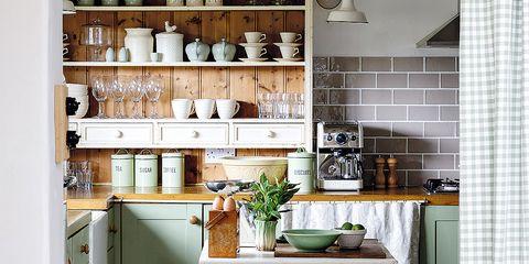 Room, Green, Interior design, Serveware, Dishware, Countertop, Table, Furniture, Interior design, Kitchen,