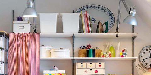 Room, Interior design, Shelving, Wall, Pink, Furniture, Shelf, Interior design, Purple, Turquoise,