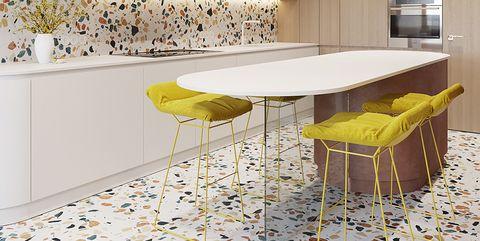Tile, Furniture, Yellow, Countertop, Room, Floor, Interior design, Property, Table, Wall,