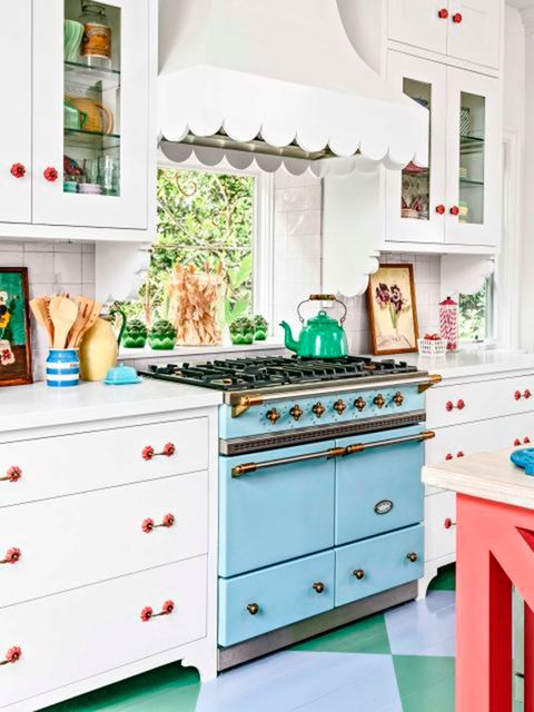 Furniture, Room, Kitchen, Green, Turquoise, Drawer, Chest of drawers, Cabinetry, Interior design, Table,