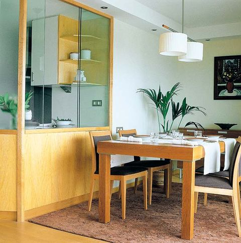 Wood, Room, Yellow, Green, Floor, Interior design, Table, Furniture, Glass, Flooring,