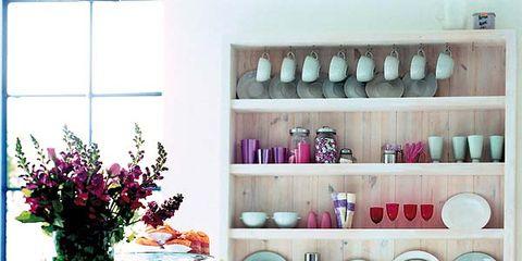Room, Interior design, Furniture, Shelving, Interior design, Flowerpot, Lavender, Dishware, Teal, Shelf,