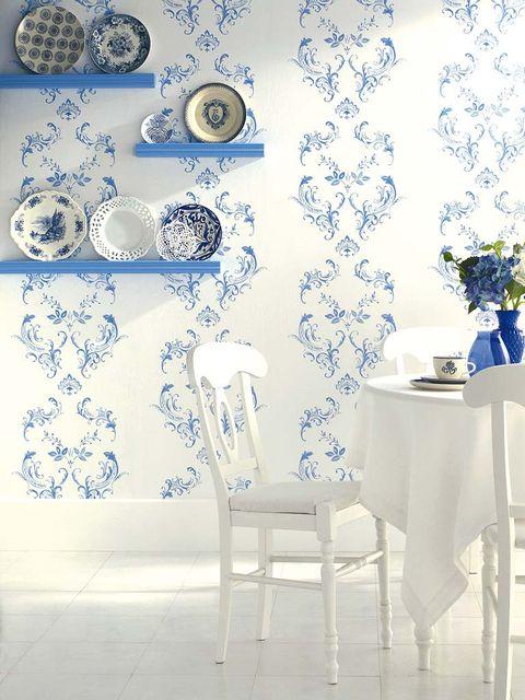 Blue, Room, Serveware, Interior design, Dishware, Tablecloth, Porcelain, Interior design, Wallpaper, Home accessories,