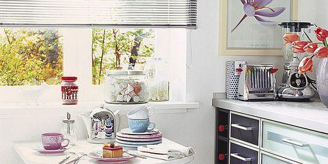 Room, Furniture, Table, Interior design, Drawer, Cabinetry, Grey, Serveware, Interior design, Home,