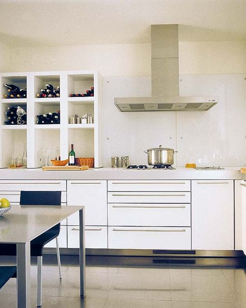Room, Interior design, Floor, White, Furniture, Flooring, Table, Line, Shelf, Cupboard,