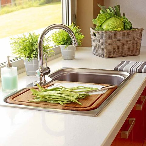 Green, Interior design, Tap, Whole food, Leaf vegetable, Vegan nutrition, Sink, Houseplant, Dishware, Produce,