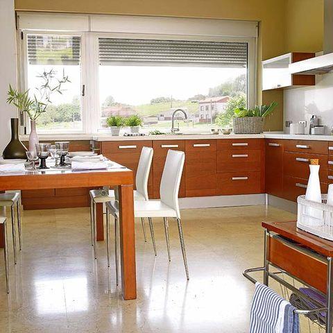 Room, Wood, Floor, Interior design, Drawer, Furniture, Flooring, Glass, Countertop, Table,