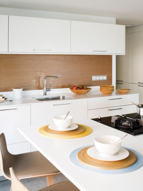 White, Room, Interior design, Furniture, Property, Table, Countertop, Kitchen, Yellow, Architecture,