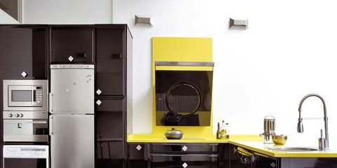 Room, Plumbing fixture, Major appliance, Floor, Home appliance, Cabinetry, Sink, Tile, Kitchen, Kitchen appliance,