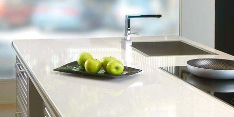 Countertop, Plumbing fixture, Fruit, Tap, Kitchen, Produce, Sink, Ceramic, Grey, Dishware,