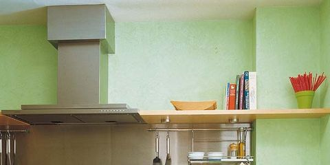 Green, Room, Kitchen, Cabinetry, Drawer, House, Grey, Kitchen appliance, Shelving, Interior design,
