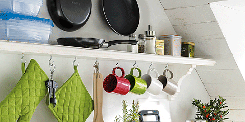 Green, Room, Kitchen, Home appliance, Food group, Shelving, Dishware, Kitchen utensil, Design, Still life photography,